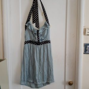 Satin Pale-Blue Halter Top French Picnic Dress